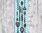 Kitchen Canvas Panel Scroll, Wall hanging, Chevron Kitchen Tools 14X44 Inches