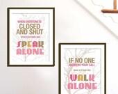 Inspirational Art Prints, Walk Alone Set Of 2-8.5X11 Inches