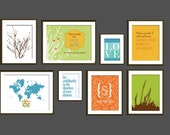 Art for Home Decor Prints, Gallery Wall Space - Set of 8, Mixed Sizes, Choose your prints