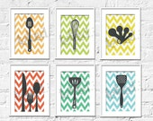 Kitchen Art Prints - Chevron Kitchen Set of 6- 5X7 Inches, Choose colors and custom sizes, Fathers Day, Mothers Day