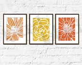 Flower Set of Modern Prints- Bold and Close A- Set of 3, 5X7 Other sizes available