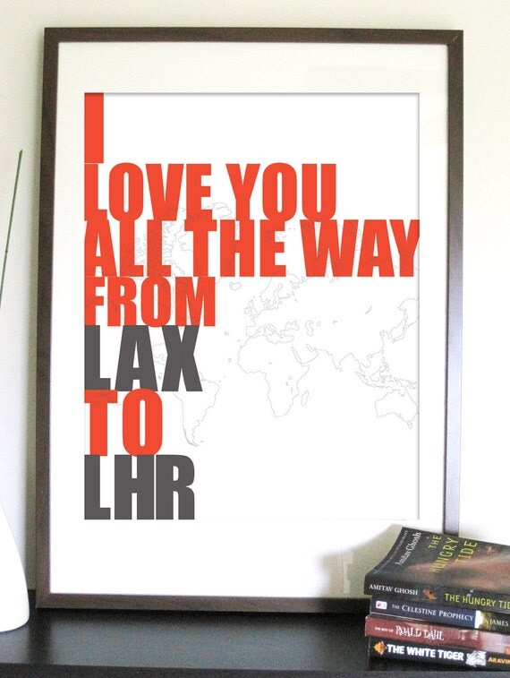 DIY Files-Travel Poster, Airport Codes Love, 11X14 Inches, Custom sizes and Colors available
