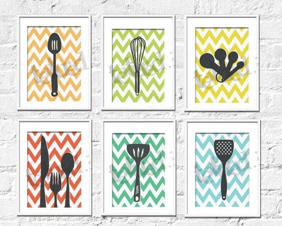 Items Similar To Kitchen Art Prints   Chevron Kitchen Set Of 6