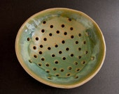 Handbuilt Colander, Stoneware Pottery, Rustic, Green Beige, Berry Bowl, Single Serving, Zen, Home Decor, Shaker