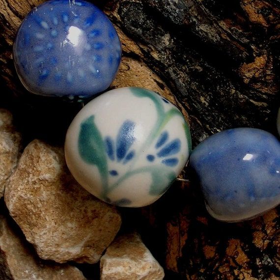 Handmade Beads, Porcelain, Hand Painted Flowers