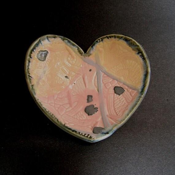 Heart Dish, Handbuilt Inlaid Porcelain