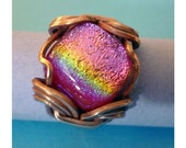 Charlie Ring/ with rugged copper and a square rainbow pink dichro cab