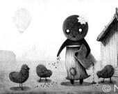 Print of Original Feeding the Birds Drawing
