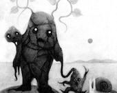 "Print of Original ""Potato Monsters II"" Drawing"