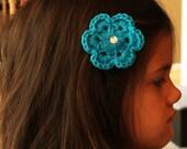 Small Crochet Flower Hair Clip, Hat Accessory