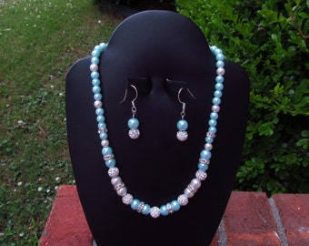 Bridesmaid Jewelry Set Tiffany Blue and White Pearls and Rhinestone Crystal Balls Wedding Jewelry Set