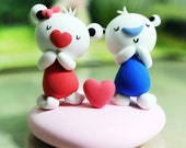 Cute bear couple wedding cake topper deco gift - In love