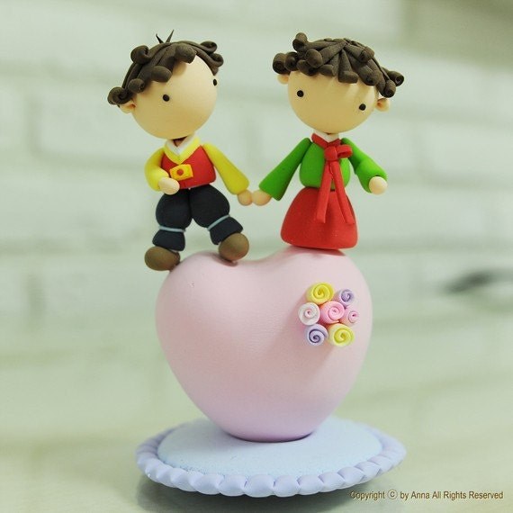 Items Similar To Korean Theme Cute Couple Wedding Cake