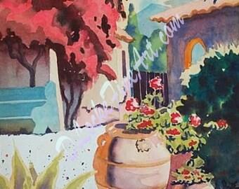 SUNNY PATIO    Print of original watercolor painting.
