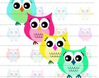 Owl Cuties - Digital Collage Sheet, 5x7 inch jpeg File. 35mm Circles for Stickers, Scrapbooking, Jewelry (060)