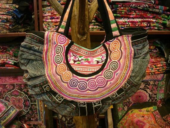 SALE 30% Tote-Vintage Handmade Ethnic Hmong Bag HB-204
