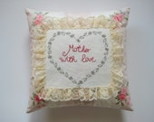 Decorative Pillow, Cottage Chic Pillow, Home Decor, Lace and Embroidery Pillow
