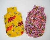 Polar Fleece Hot Water Bottle Cover - Yellow with Bugs or Pink with Butterflies, Cozy Cover