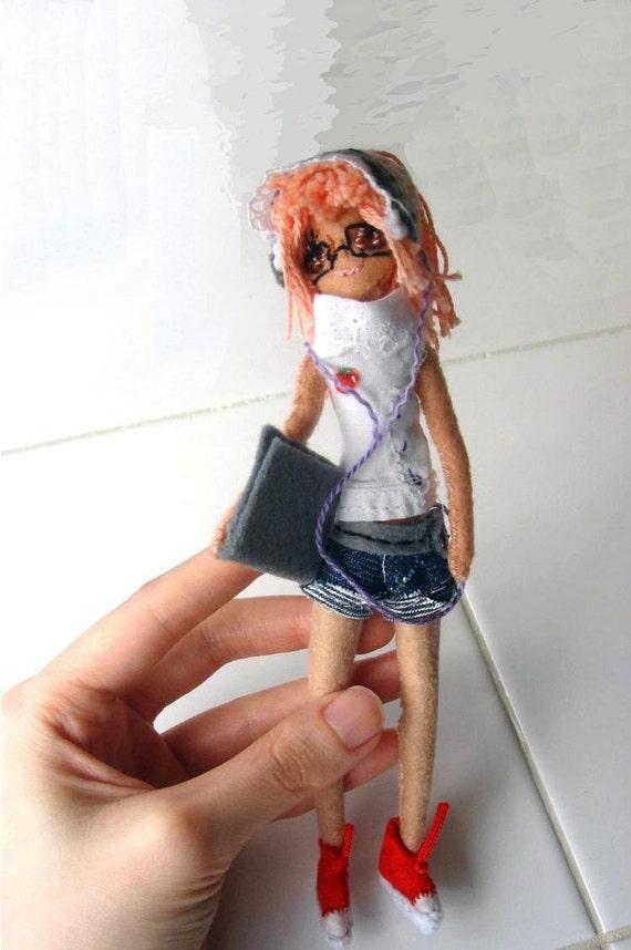 geek art doll miniature computer nerd girl plush doll ooak