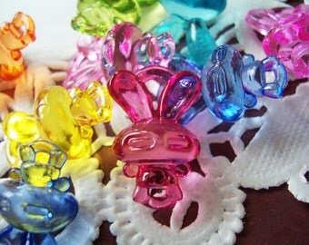 80 colorful bunny charm pendant