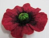 felted brooch Poppy Flower  Dark Red