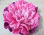 felted brooch soft pink flower