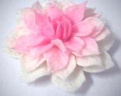 Felt Brooch white pink rose
