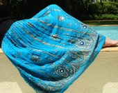 Turquoise Blue Maxi Skirt: Long Gypsy Skirt, Indian Bollywood Skirt, Festival Clothing, Bohemian Sequin Peasant Skirt, Belly Dance Clothing