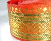 DESTASH Tangerine Orange Indian Ribbon: 58 Inch or 147 cm Remnant Piece, Sewing Craft Trim Sari Saree Border Gold Green India