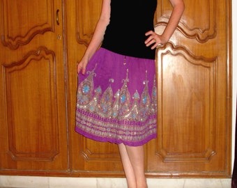 Purple Gypsy Skirt: Indian Bollywood Skirt, Flowy Knee Length Silver Sequined Midi Skirt or Crinkled Floral Cover Up
