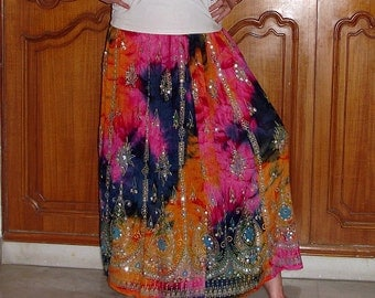 Gypsy Skirt: Boho Maxi Skirt, Tie Dye Skirt, Long Indian Skirt, Bohemian Sequined Skirt, Festival Clothing, Hippie Skirt, Bollywood Skirt