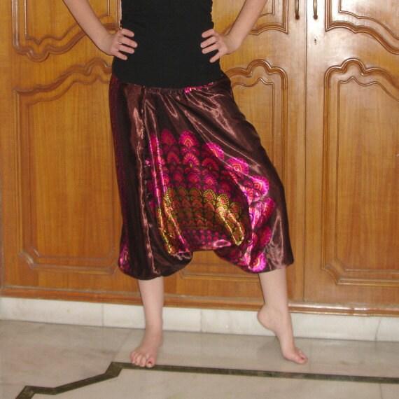 Harem Pants: Brown Satin Yoga Pants, Aladdin Pants, Genie Pants