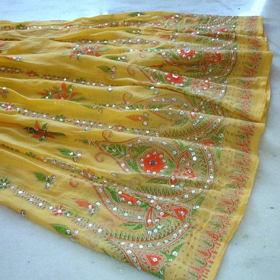 Gyspy Skirt: Maxi Skirt in Yellow with Tangerine Flowers, Long Skirt, Flowy Skirt, Boho Skirt