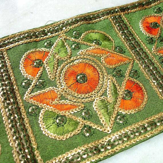 DESTASH Embroidered Silk Ribbon Remnant, 26 in, Olive Green and Orange Silk Sari Border , Sequined Saree Border, Indian Trim, Indian Ribbon