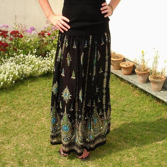 Gypsy Skirt: Black Maxi Skirt, Long Sequin Skirt, Boho Indian Skirt, Bohemian Festival Clothing, Bollywood India Skirt, Belly Dance Skirt