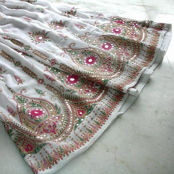 White Maxi Skirt: Indian Skirt, Bohemian Long Sequined Skirt, Bubble Gum Pink Floral Skirt, Boho Festival Clothing