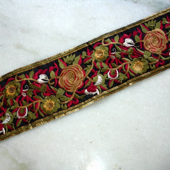 Silk Sari Border: 1.3 Yards, Rose Embroidered Silk Ribbon, Black Red Floral Sequined Indian Saree Sewing Trim, Ribbon