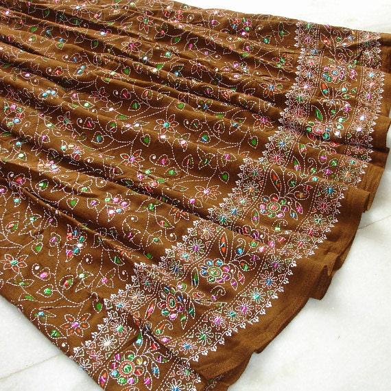 Maxi Skirt: Peasant Skirt, Gypsy Skirt, Camel Brown Bohemian Boho Indian Flowy Maxi Skirt