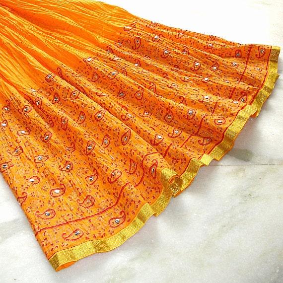 Peasant Skirt: Maxi Skirt, Long Full Skirt, Broomstick Skirt, Tangerine Orange Skirt