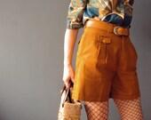 Mustard Tan Burnt Orange Saffron Pleated Safari Shorts Vintage 1970s