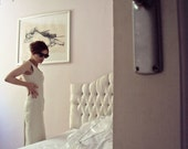 RESERVED RESERVED RESERVED Vintage Designer Prada Ivory Sheath Dress Shift V Neck Wiggle Hourglass Sculptured Dress 90s
