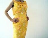 Vintage 60s Spring Fashion Mad Men Pink Grapefruit Yellow Caplet Wiggle Sheath Shift Dress Small
