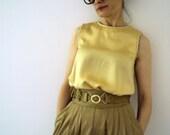 lemon citrine peach skin silk summer evening blouse handmade