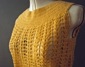 RESERVED RESERVED RESERVEDHandmade Vintage 60s Crochet Cornflour Yellow Sheer Shift Dress Small
