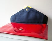 Vintage 70s Red Nautical Patent Vinyl Envelope Clutch Bag Purse
