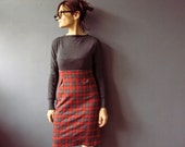 Handmade Mad Men Grey Red Tartan Plaid Jumper Dress.Wiggle Dress. Office Fashion Winter Autumn