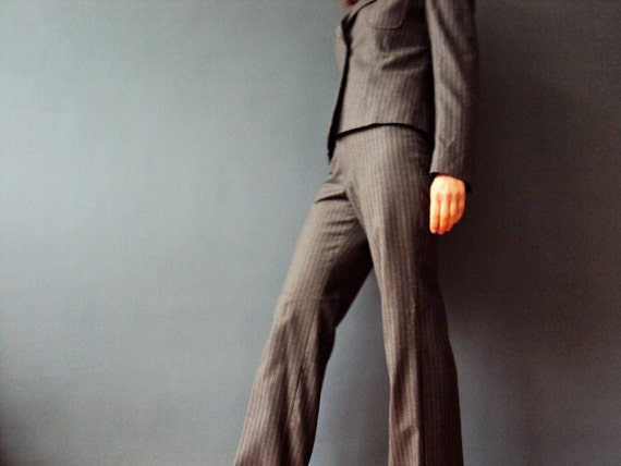 Grey Wool Flannel Pinstripe Pant Suit High Waisted Bootleg Pants Shcolastic Blazer Vintage 90s