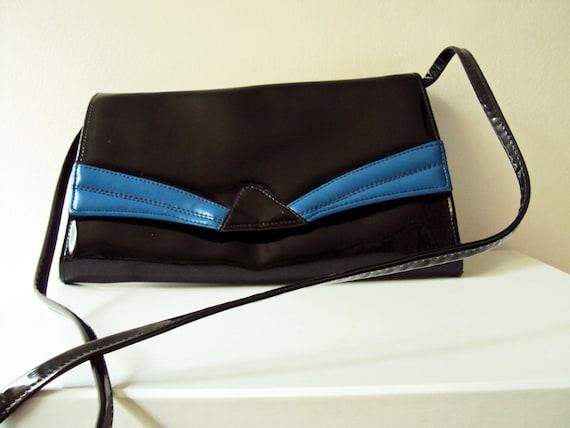 Vintage 80s Hermes Leathergoods Black and  Royal Blue Deco Style Patent Vinyl Handbag Clutch Small