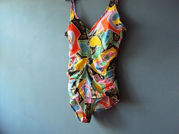 Vintage 80s Neon Tribal Abstract  Bathing Suit One Piece Swim Suit Bathers