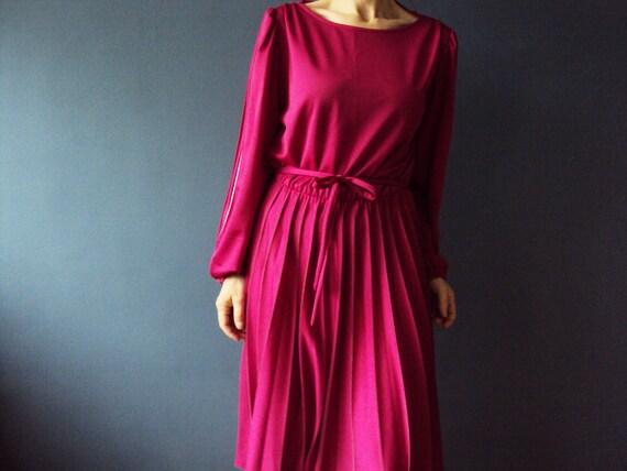 Accordion Pleated Cranberry Day Dress  Vintage 1980s Australian Vintage Fashion